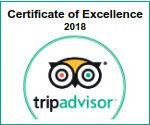 Certificate of Excellence 2018 on Tripadvisor